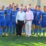 Bill Steinberg with Mayor Malka and the Hapoel Kiryat Shmona Soccer Team