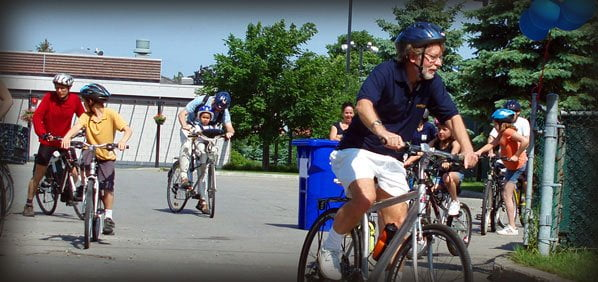 Bill Steinberg riding a bicycle at Hampstead Velo-Fest