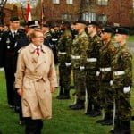 Mayor Steinberg reviewing the Royal Montreal Regiment