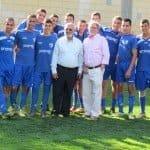 Bill Steinberg with Mayor Malka and the Hapoel Kiryat Shmona Soccer Team