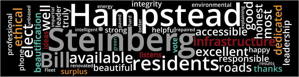 Word Cloud: streets happy subsidies infrastructure responds impartial personally Montreal demerger improving solution support dedicated honest intelligent hard-working ethical excellent mayor available listens professional superior service good responsible leadership leader progressive beautification financial Hampsteaders unbiased phone most appreciated thank beautiful green truly truly truly integrity results strong strong devoted prudent helpful well service hours tax record leader won environmentally Fleet